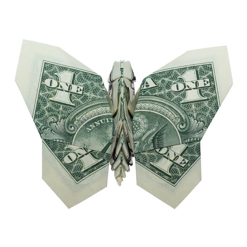 Долларовая банкнота Origami денег сложенная БАБОЧКОЙ реальная одна изолированная на белой предпосылке стоковые фотографии rf