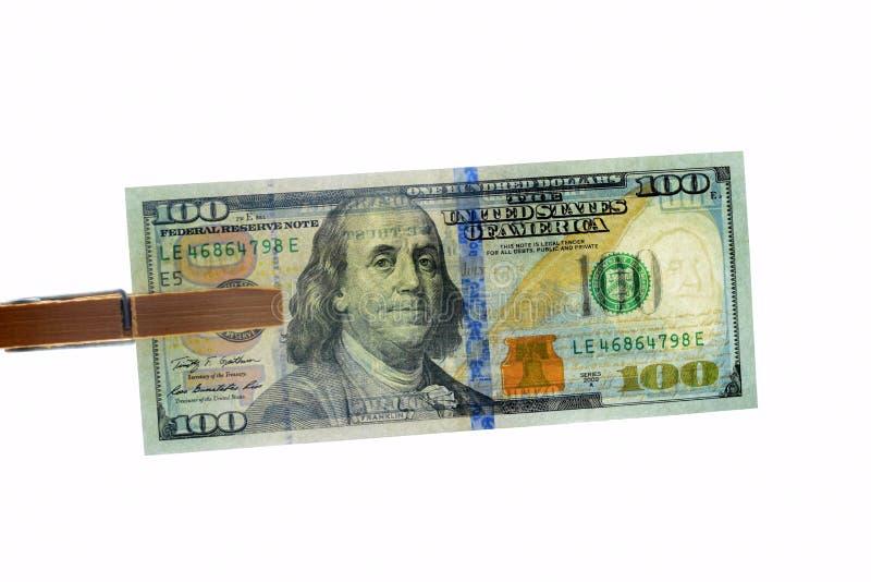 100 долларов на белой предпосылке, удостоверении подлинности стоковые изображения rf