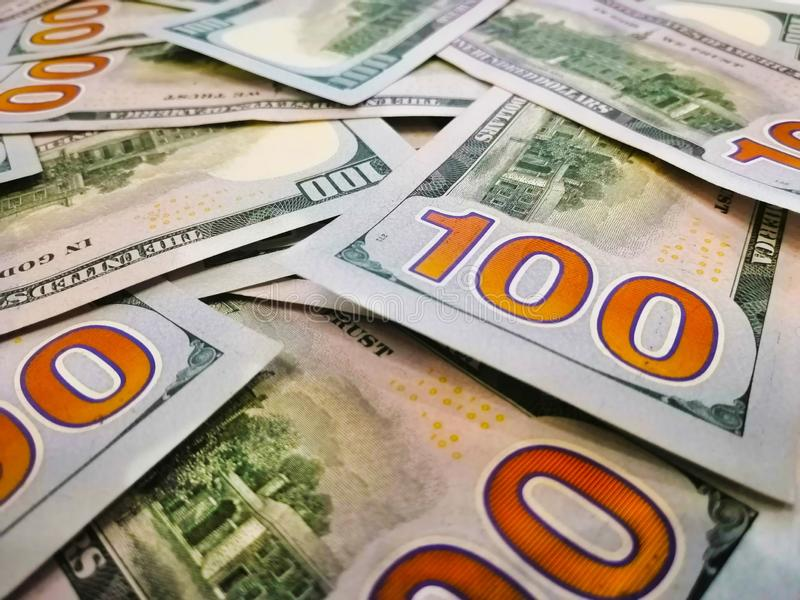 100 долларов США банкнот o Изображение цвета долларов Обратная сторона банкноты стоковые фотографии rf