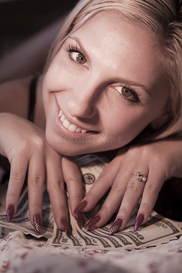 доллары девушки стоковое изображение rf