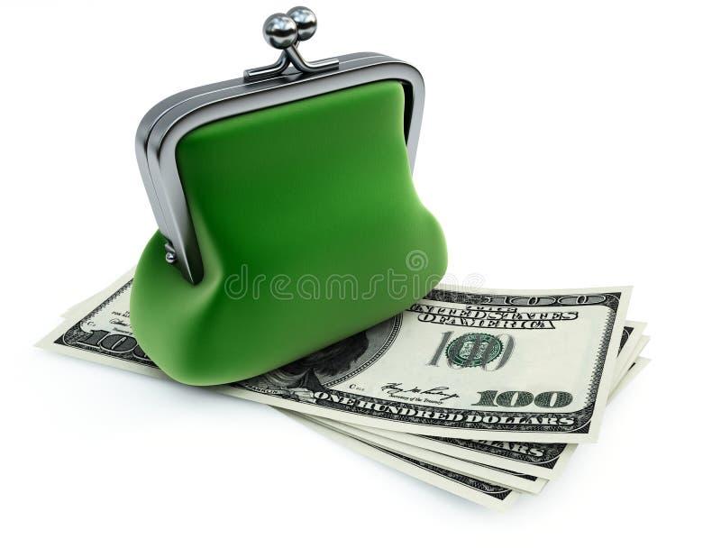доллары зеленого портмона иллюстрация вектора