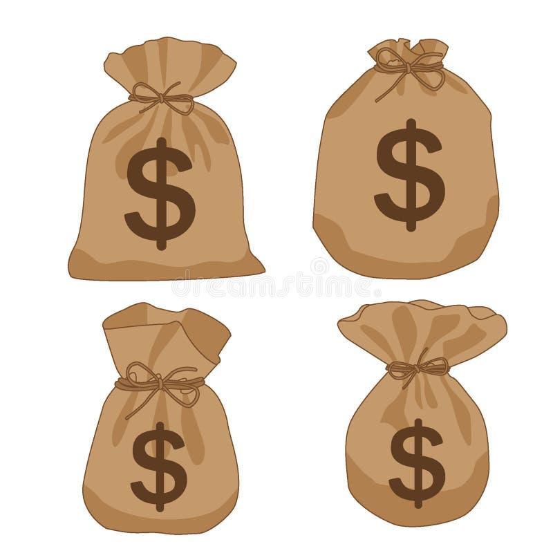 Доллары коричневого цвета сумки денег бесплатная иллюстрация