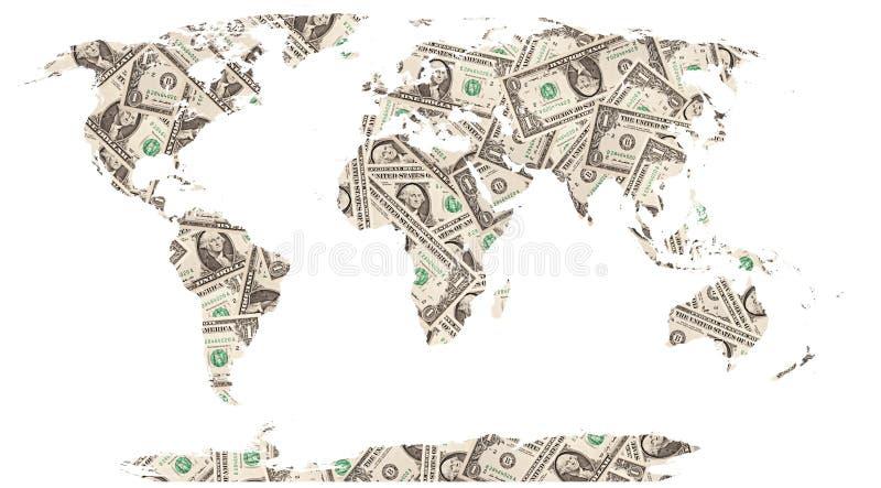 доллары мира карты стоковое фото