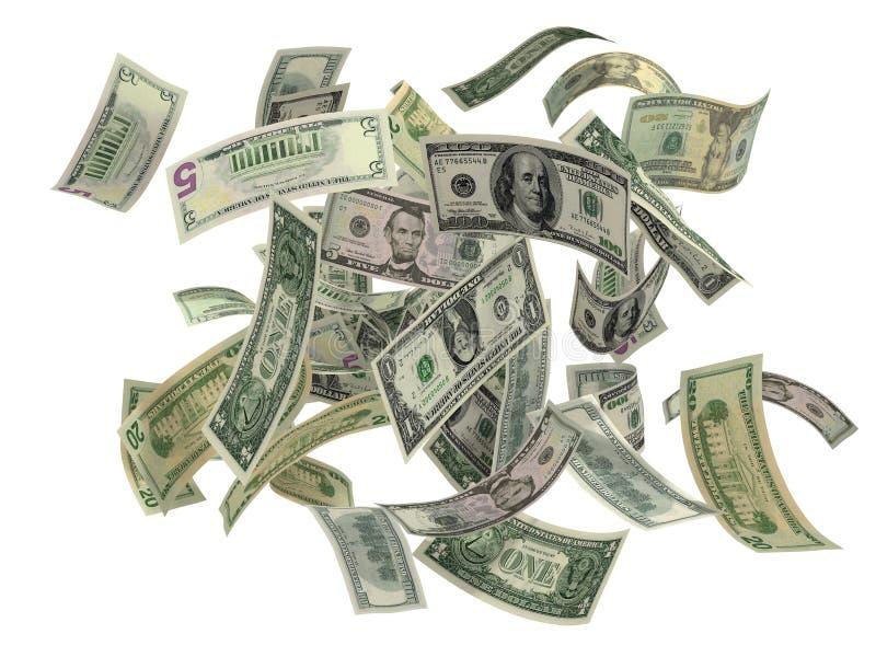 доллары падая мы стоковые фотографии rf