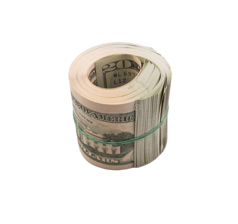 Доллары перевязанные с эластичной резиновой лентой стоковая фотография rf