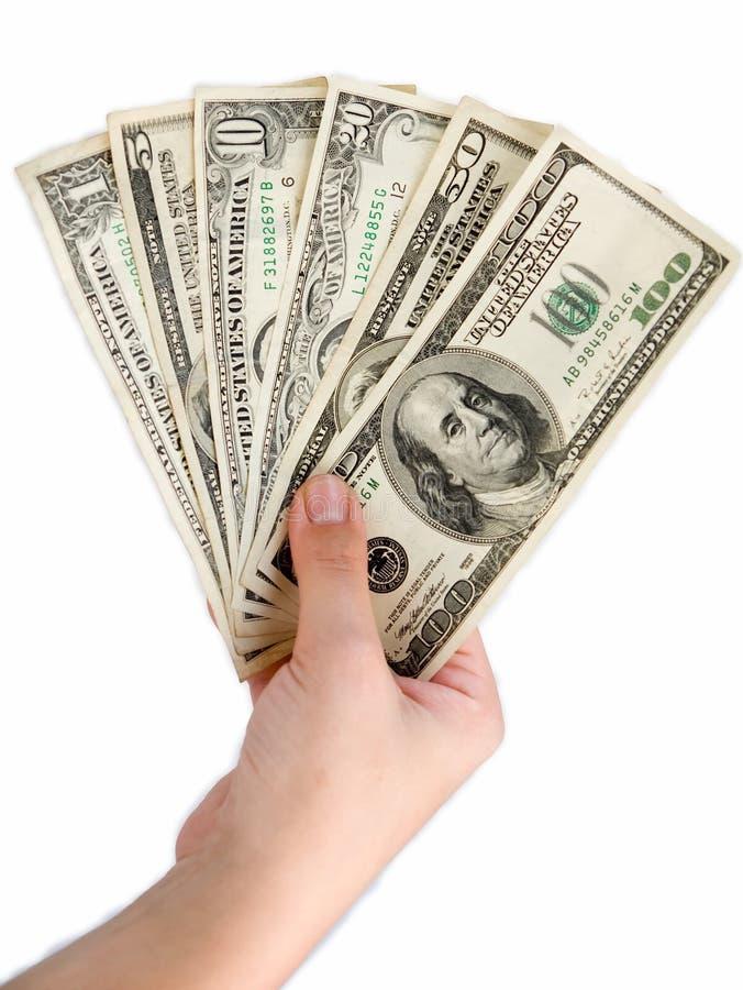доллары руки женщины стоковые изображения rf