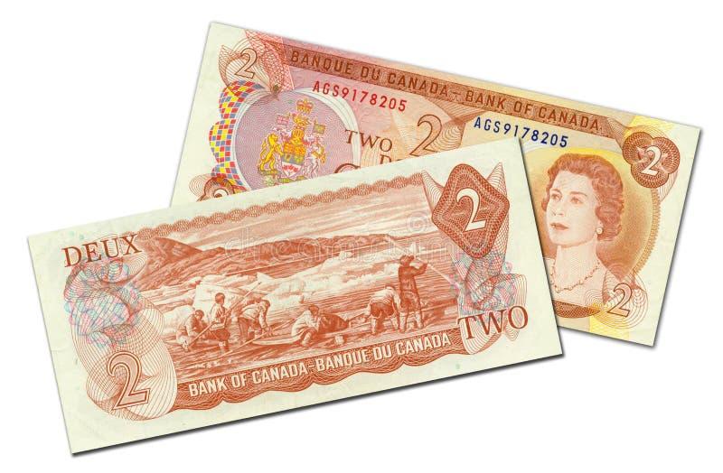 доллары 2 кредитки канадские стоковая фотография rf