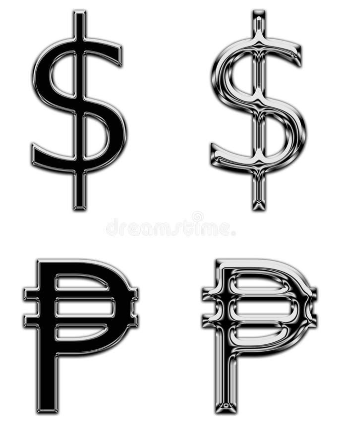 Доллар банка денег символа валюты металла поет песо стоковые фотографии rf