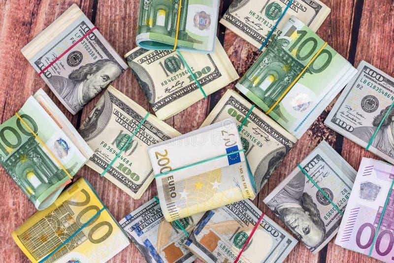 Доллар, банкноты евро как предпосылка стоковая фотография rf