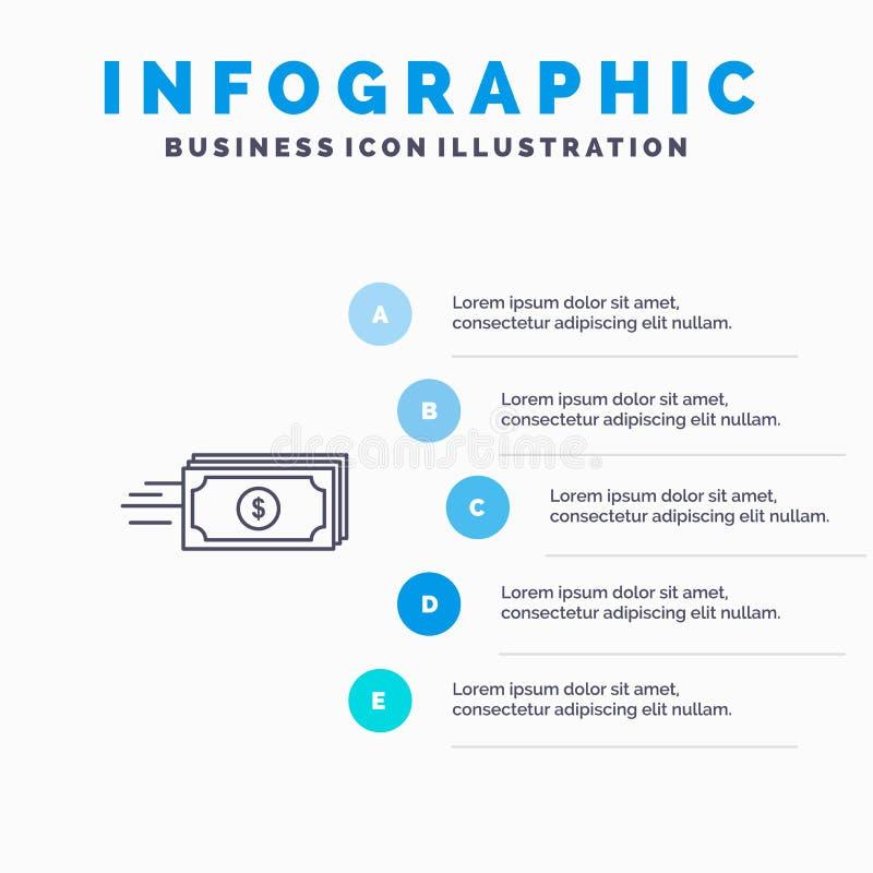 Доллар, дело, подача, деньги, линия значок валюты с предпосылкой infographics представления 5 шагов бесплатная иллюстрация