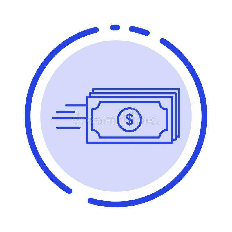 Доллар, дело, подача, деньги, линия значок голубой пунктирной линии валюты иллюстрация штока