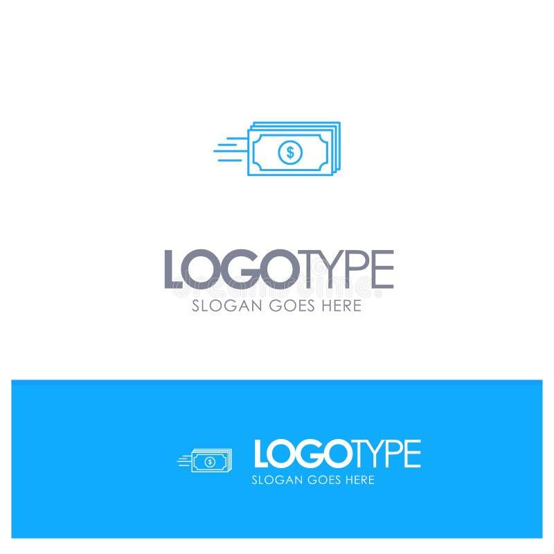 Доллар, дело, подача, деньги, логотип плана валюты голубой с местом для слогана бесплатная иллюстрация