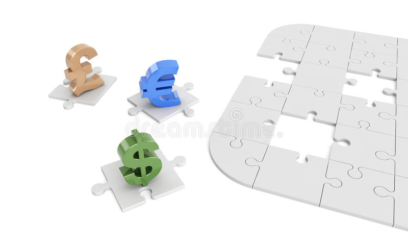Доллар, евро, фунт подписывает на частях головоломки иллюстрация штока