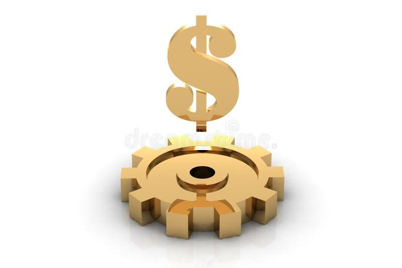 доллар золотистый иллюстрация штока