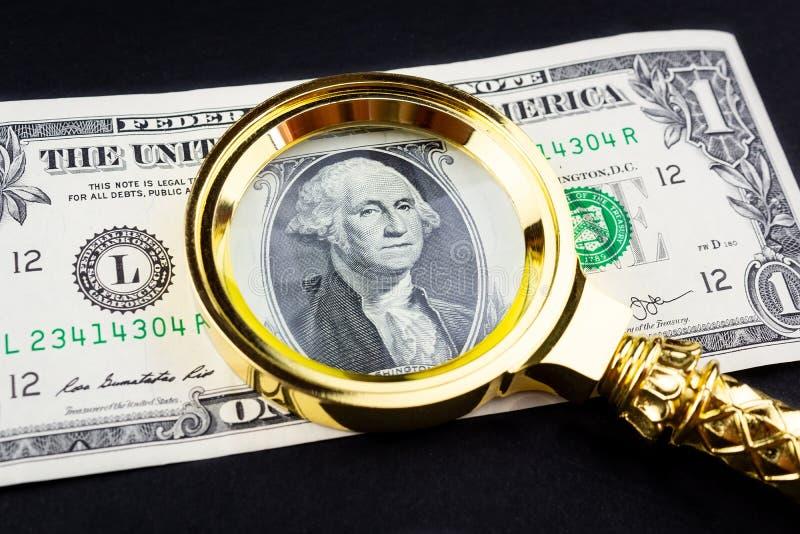 Доллар и лупа стоковое изображение