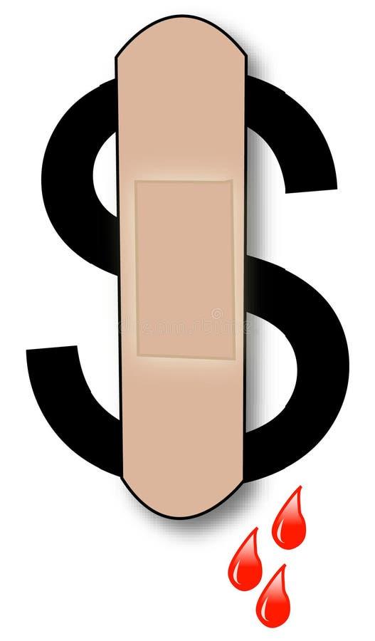 доллар кровотечения иллюстрация штока