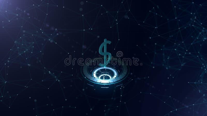 Доллар международной валюты на 3 виртуальных накаляя circlers Горизонтальные прямые соединили весь знак космос иллюстрация вектора