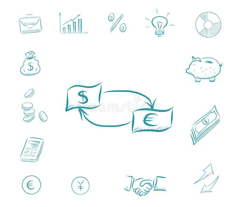 Доллар обменом денег к евро - набору финансов значка Значки дела с копилкой, калькулятором, диаграммами, бизнесменом иллюстрация штока