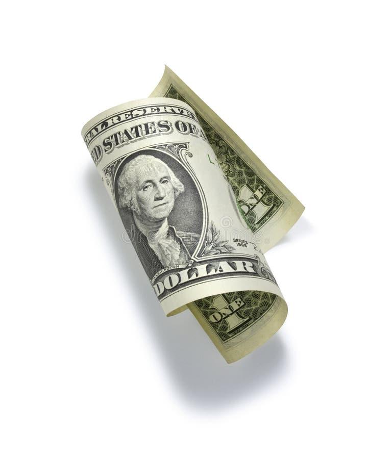 доллар одно счета свернул стоковая фотография