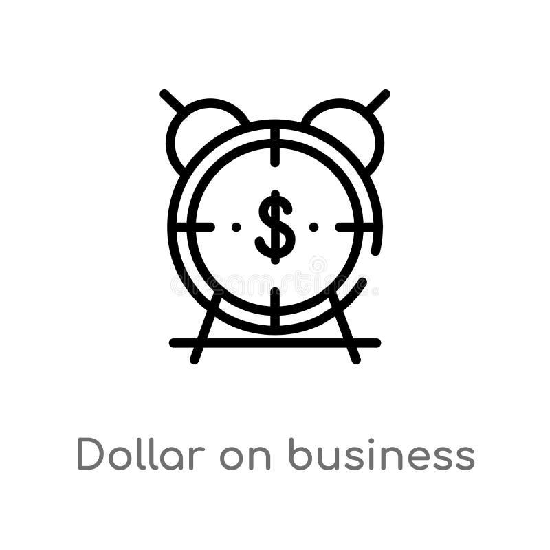 доллар плана на значке вектора времени дела изолированная черная простая линия иллюстрация элемента от концепции дела editable иллюстрация вектора
