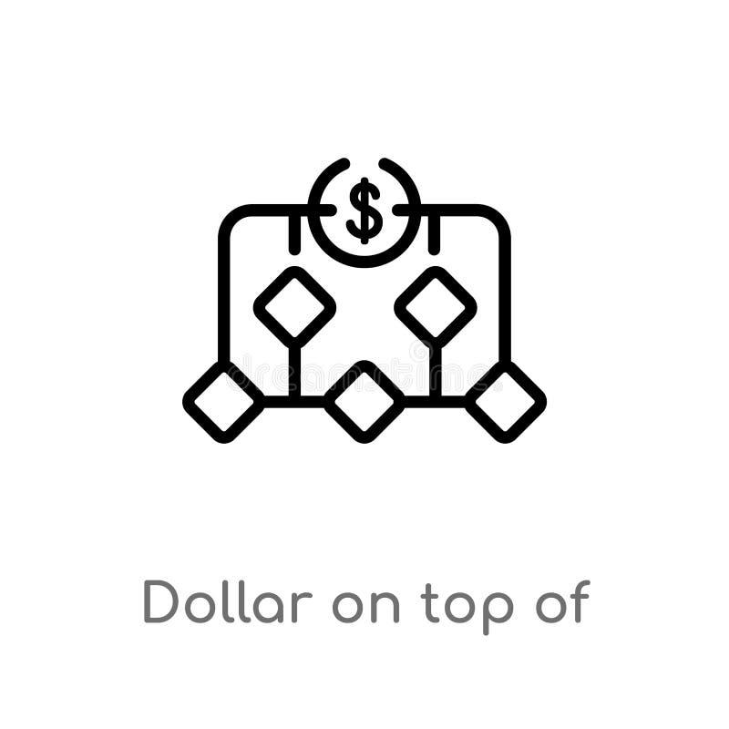доллар плана поверх финансового значка вектора иерархии изолированная черная простая линия иллюстрация элемента от концепции дела иллюстрация штока