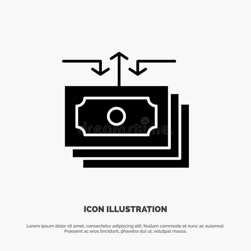 Доллар, подача, деньги, наличные деньги, вектор значка глифа отчета твердый бесплатная иллюстрация