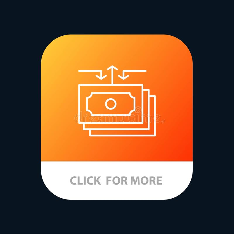 Доллар, подача, деньги, наличные деньги, кнопка приложения отчета мобильная Андроид и линия версия IOS иллюстрация штока