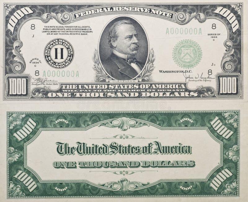 доллар тысяча счета стоковая фотография