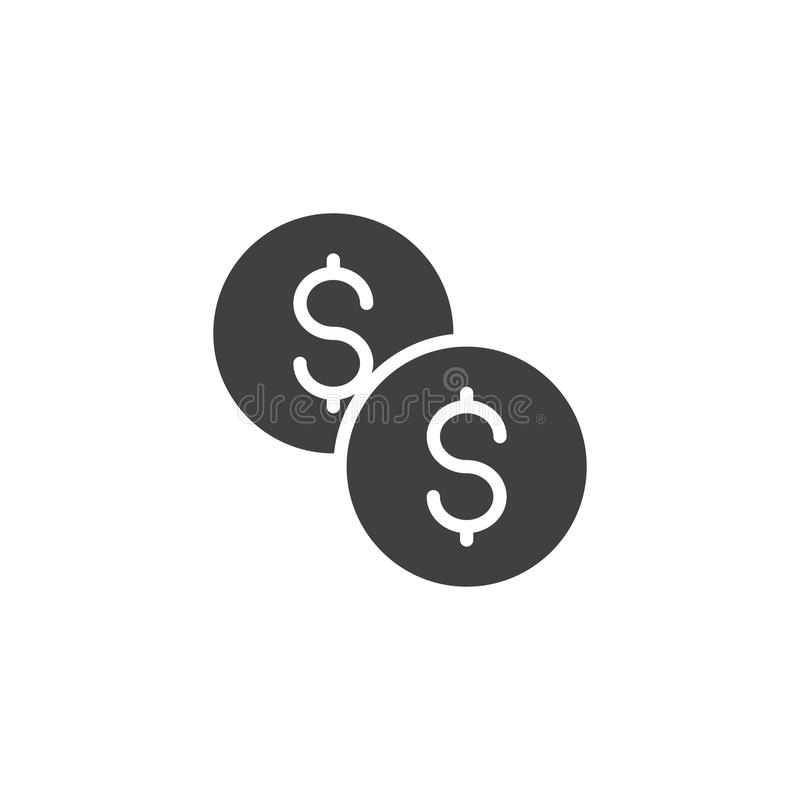 Доллар чеканит значок вектора бесплатная иллюстрация