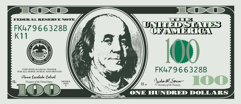 доллар 100 одно иллюстрация штока