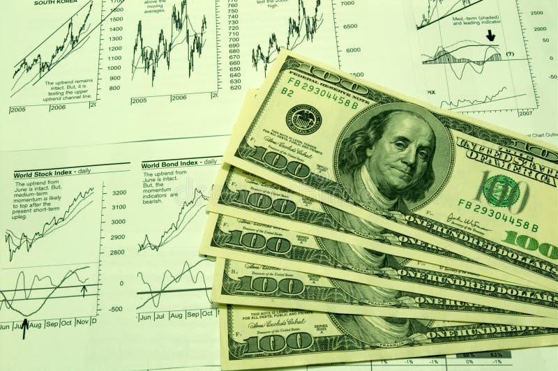 доллар 3 диаграмм финансовохозяйственный мы стоковая фотография rf