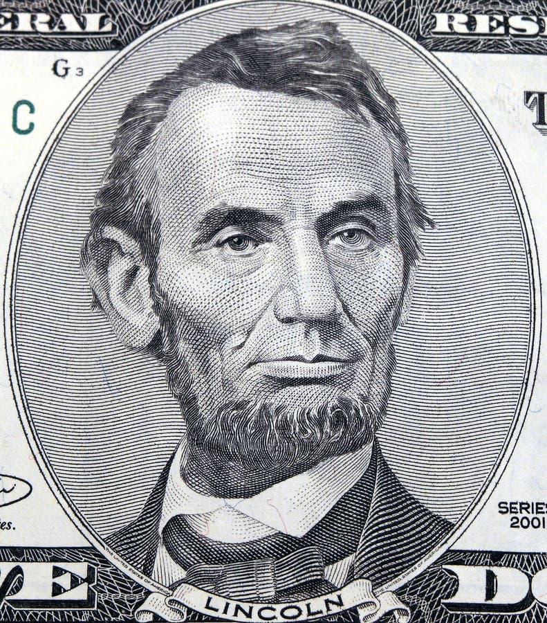 доллар 5 abraham стоковое фото rf