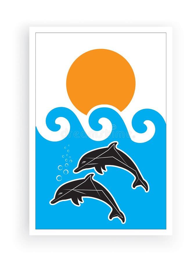 Дольфины силуэты в море на закате, иллюстрация, вектор, минималистская краска, мир моря, подводная вода бесплатная иллюстрация