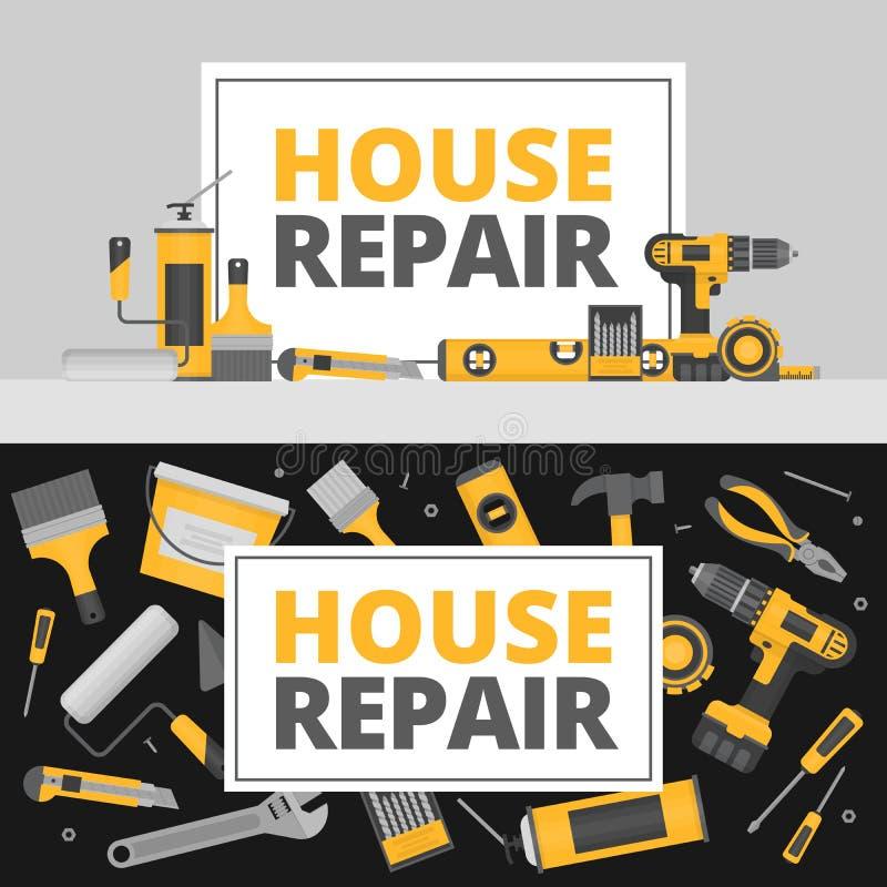 Домашнее знамя ремонта молоток конструкции оборудует окно Ручные резцы для домашнего reno иллюстрация штока