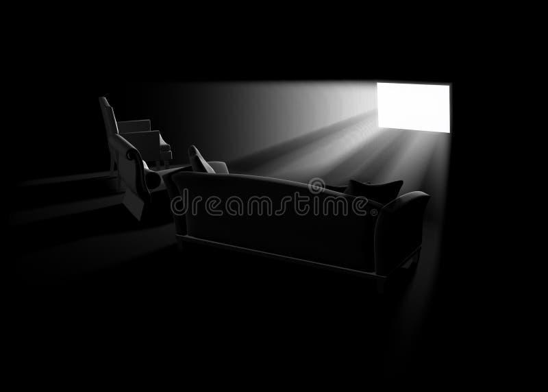домашнее кино иллюстрация вектора