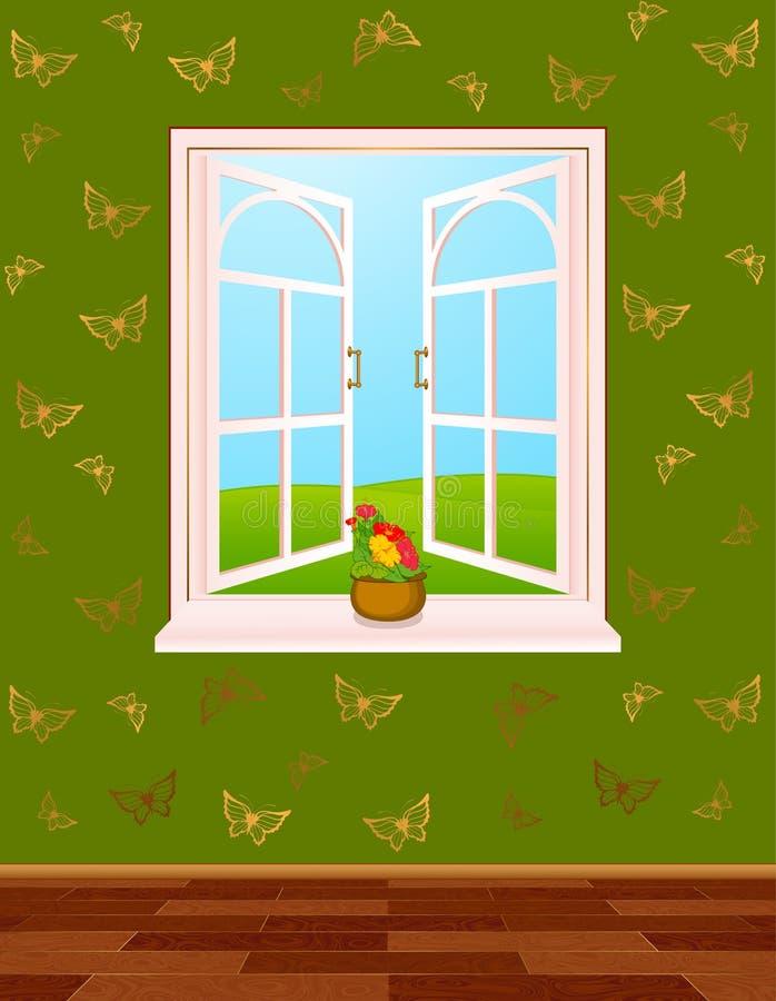 домашнее нутряное окно иллюстрация штока