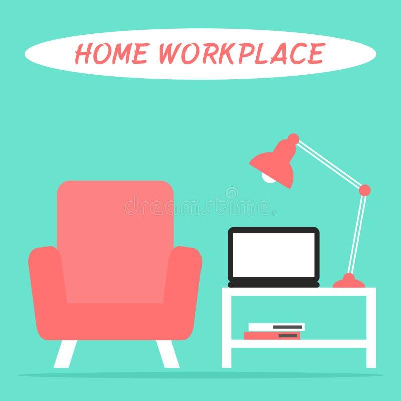 Домашнее рабочее место в интерьере живущей комнаты с компьтер-книжкой, лампой, креслом и таблицей бесплатная иллюстрация