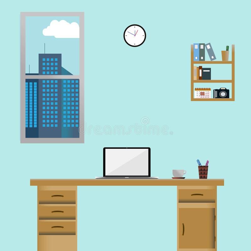 Домашнее рабочее место в фронте иллюстрация штока