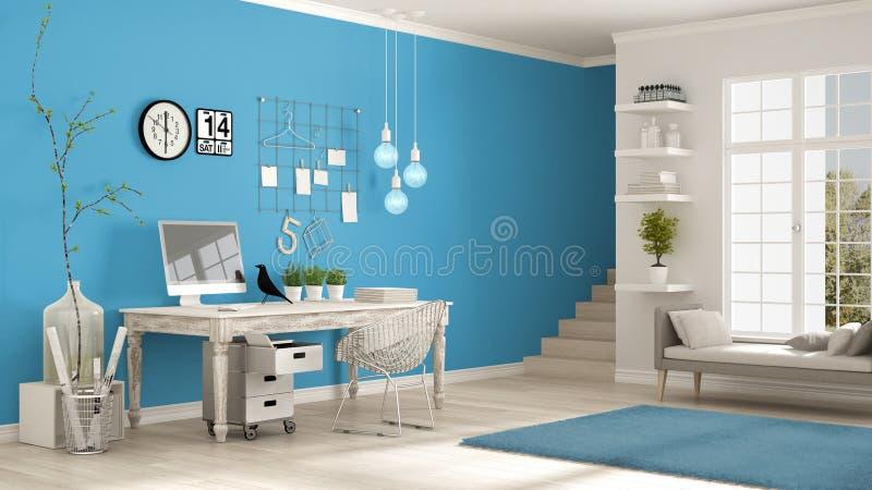 Домашнее рабочее место, скандинавская белая и голубая комната, угловой офис, иллюстрация вектора