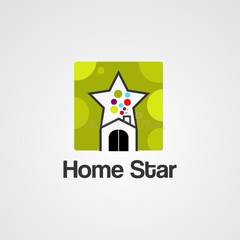 Домашние вектор, значок, элемент, и шаблон логотипа звезды иллюстрация вектора