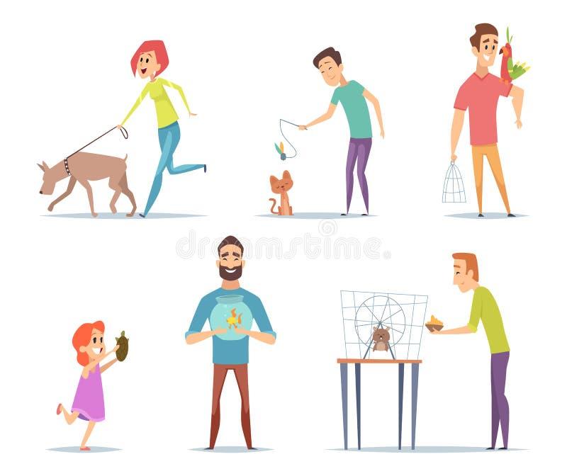 Домашние животные Владельцы с их характерами попугая собаки кота любимцев счастливыми с собранием вектора животных в стиле мультф иллюстрация вектора