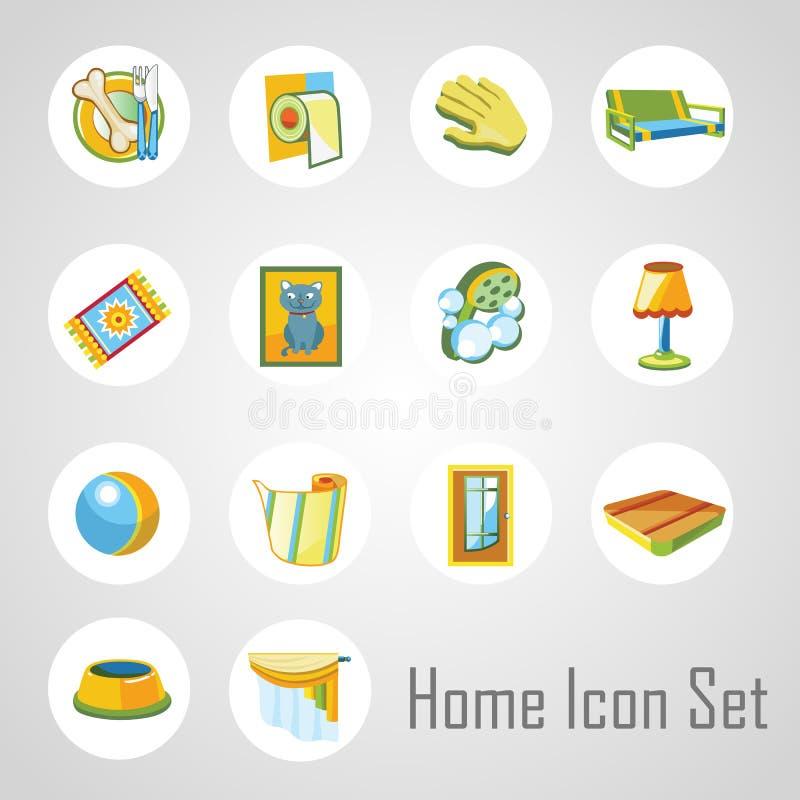 Домашние значки установили, 14 объекта в этих же стиль иллюстрация вектора