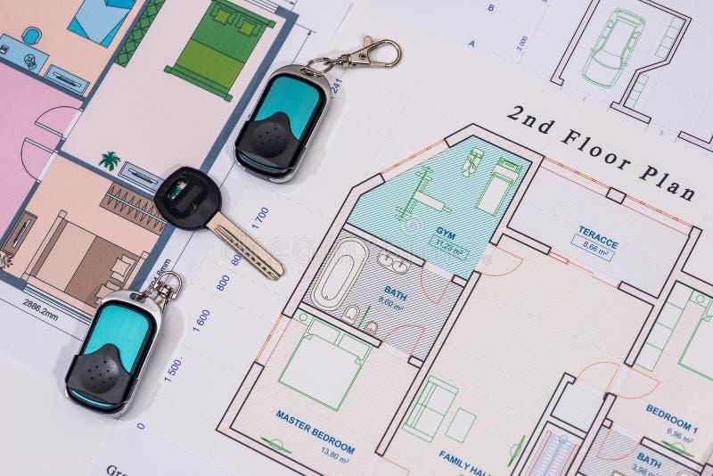 Домашние ключи, cctv с конструкцией дома, стоковое фото