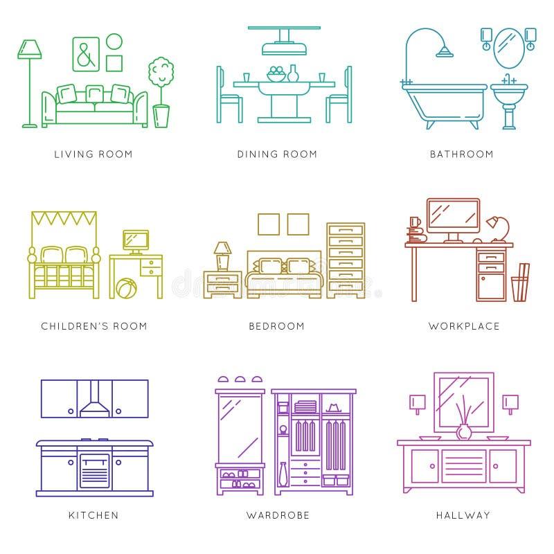 Домашние комнаты внутренние в линейном стиле иконы предпосылки легкие заменяют вектор тени прозрачный иллюстрация вектора