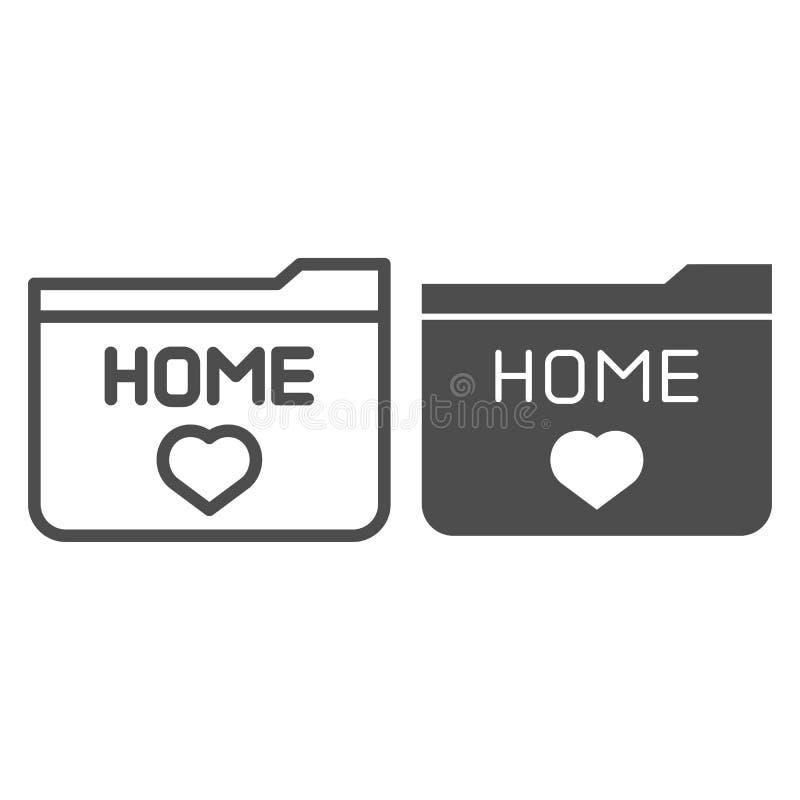 Домашние линия папки и значок глифа Иллюстрация вектора фаворитов папки изолированная на белизне Папка со стилем плана сердца бесплатная иллюстрация