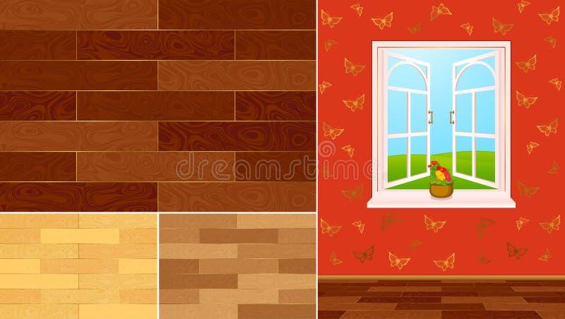 домашние нутряные swatches текстурируют древесину иллюстрация штока