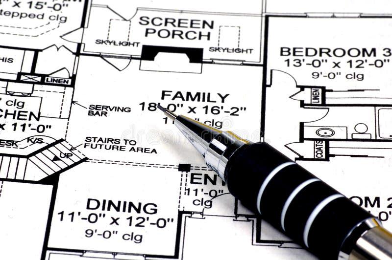 домашние планы карандаша стоковые фото