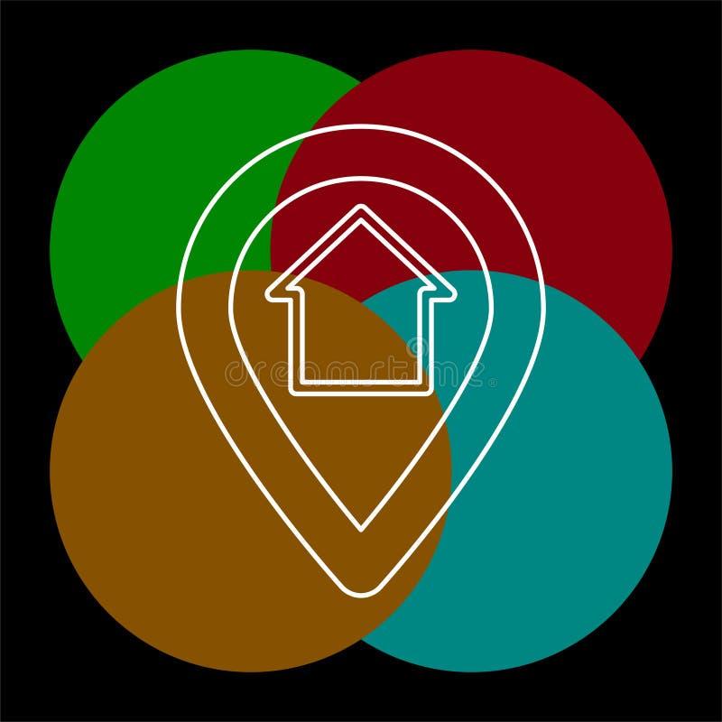 Домашние gps - указатель карты, штырь карты иллюстрация штока