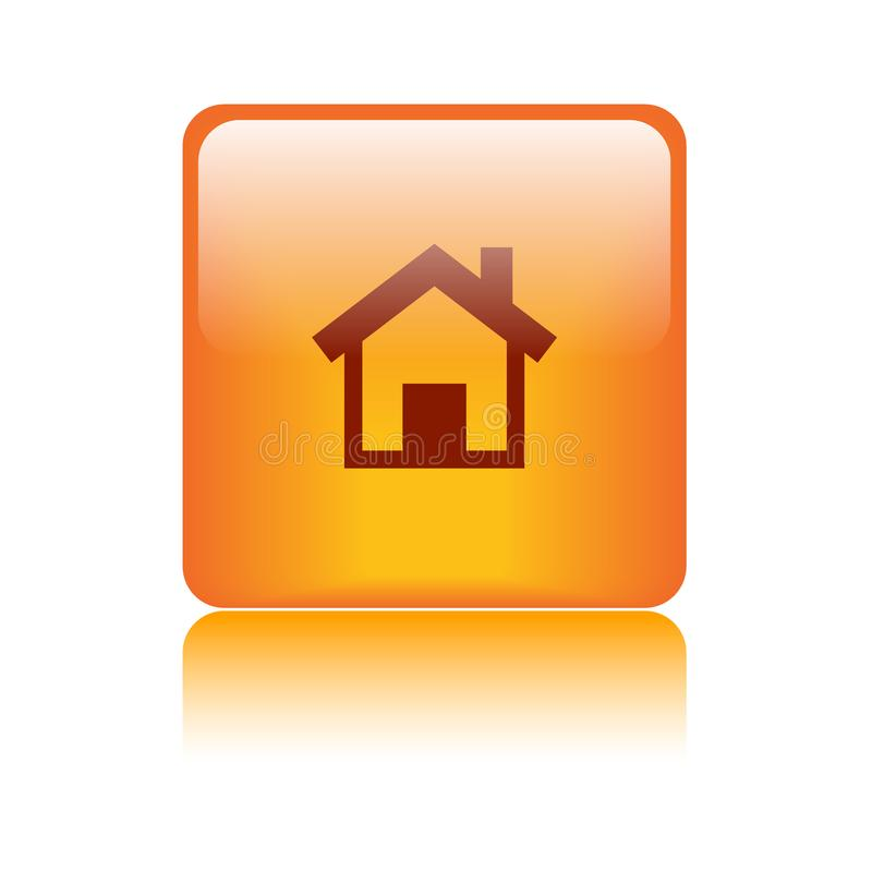 Домашний апельсин значка сети кнопки иллюстрация вектора