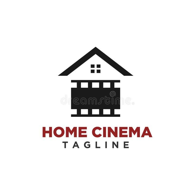 Домашний вектор дизайна логотипа кино иллюстрация вектора